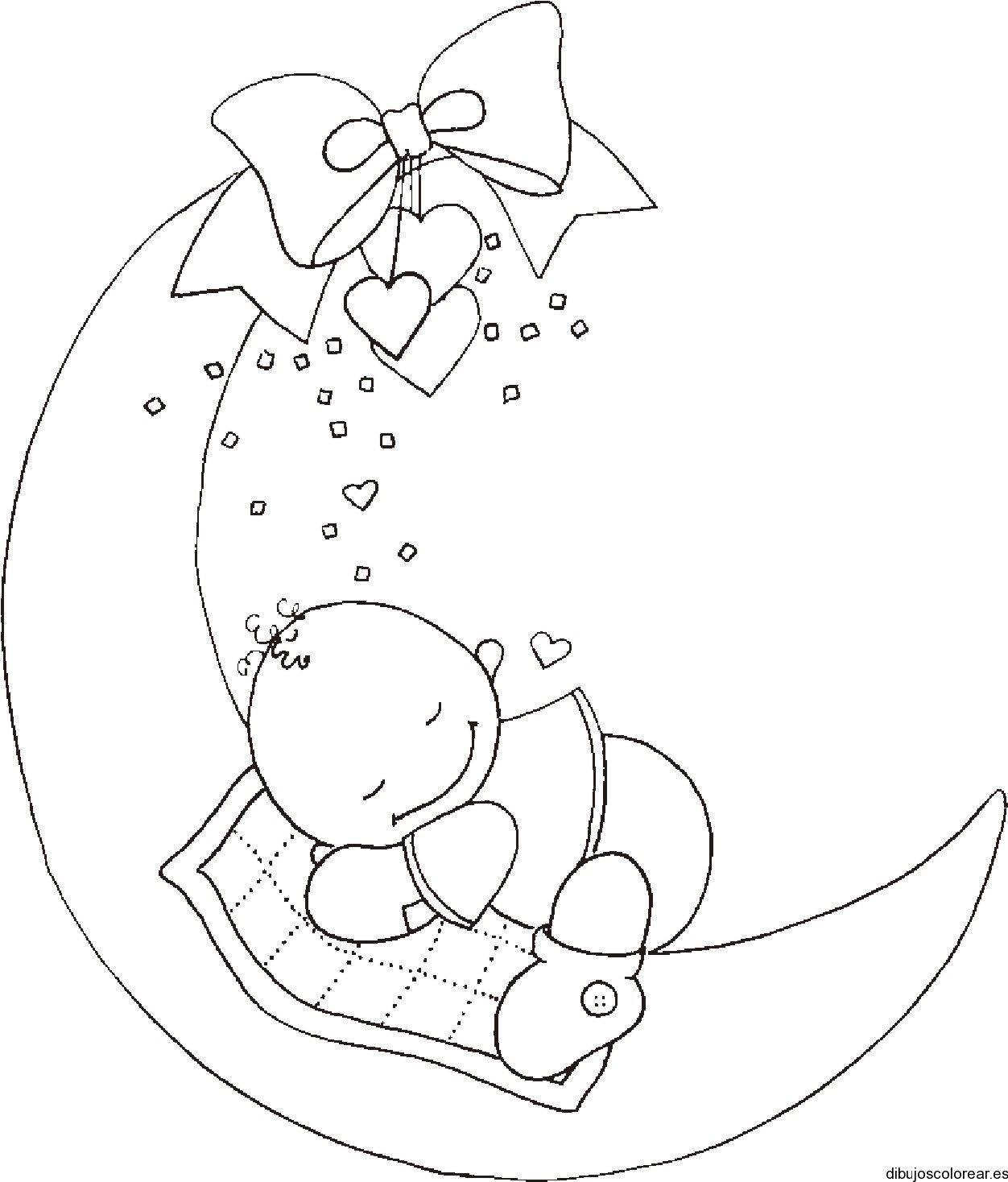 Dibujo de un bebé sobre la luna | Dibujos para Colorear | Baby ...
