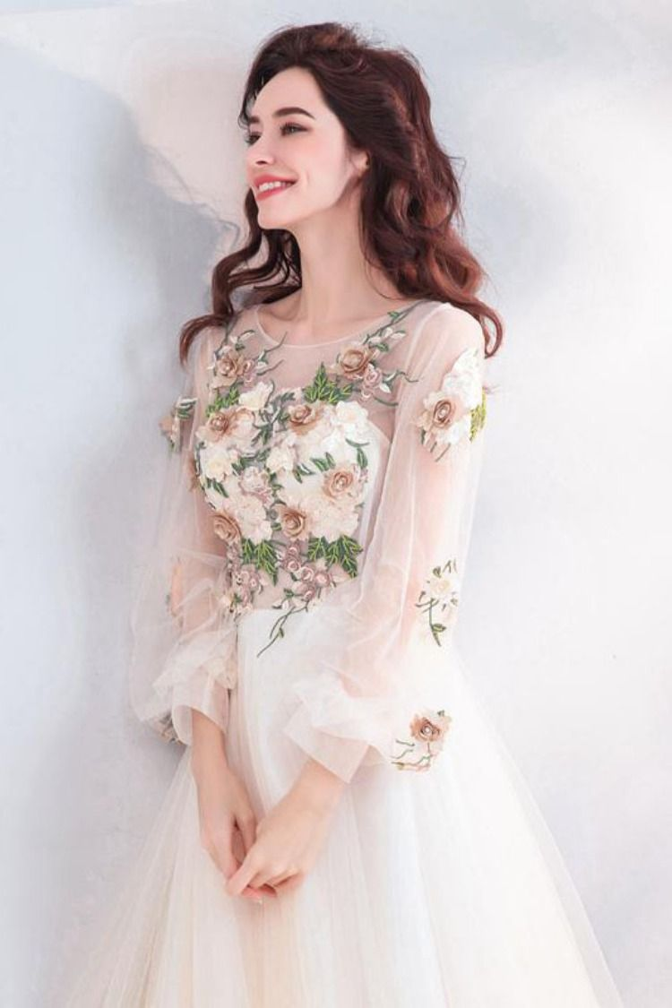 Pretty A Line Long Sleeves Tulle Appliques om Dresses With Flowers OKG69 #longsleevepromdress