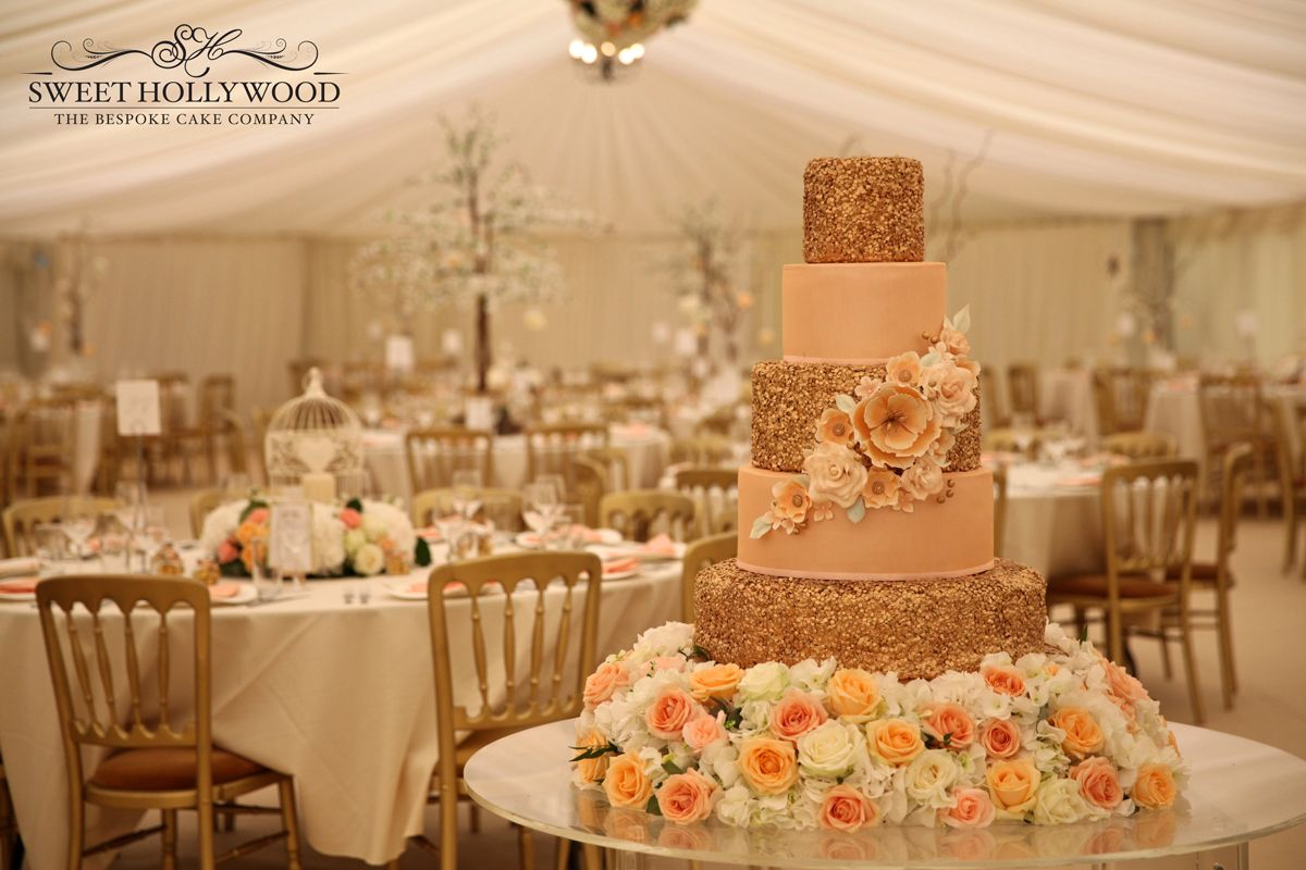 Gold And Peach Wedding Cake With Hand Made Sugar Flowers