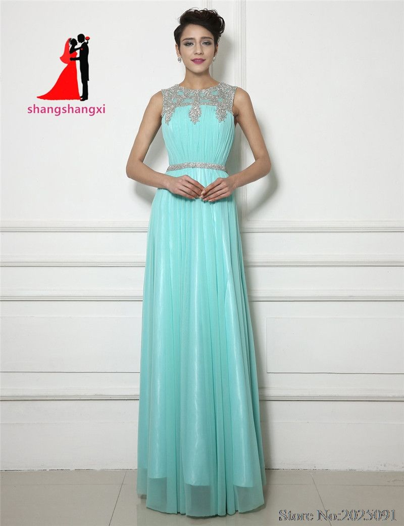 Click to buy ucuc new mint green chiffon evening dresses with