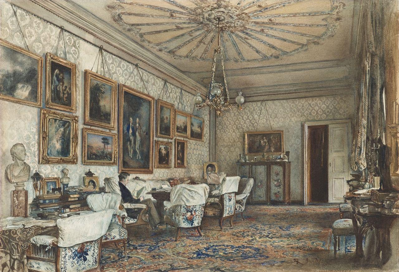 Apartment Room Count rudolf von alt, salon in the apartment of count lanckoronski in
