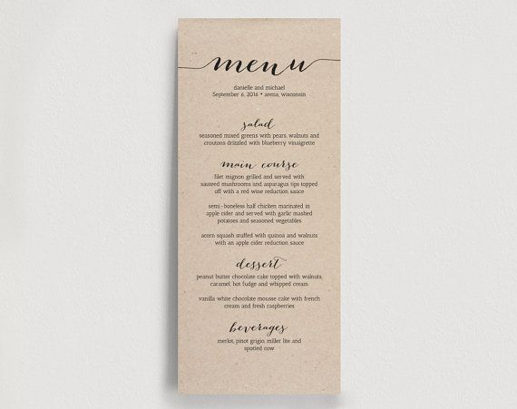 Wedding Menu Printable Template - Printable Menu - DIY Printable - dinner menu templates free