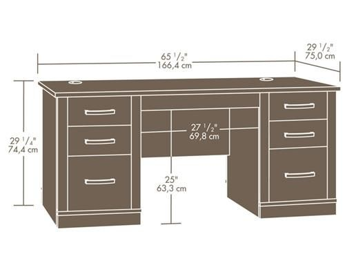 From Sauder Comes This Contemporary Executive Desk Decked Out In A Gorgeous Dark Alder Finish Planos De Escritorio Muebles Para Computadora Planos De Muebles
