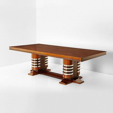 A TWIN PEDESTAL DINING TABLE-