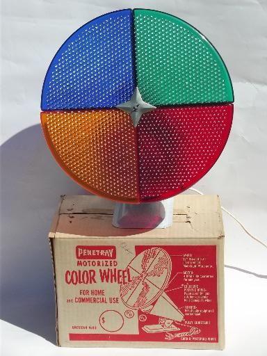 vintage Penetray Christmas tree color wheel rotating light in box, works - Vintage Penetray Christmas Tree Color Wheel Rotating Light In Box