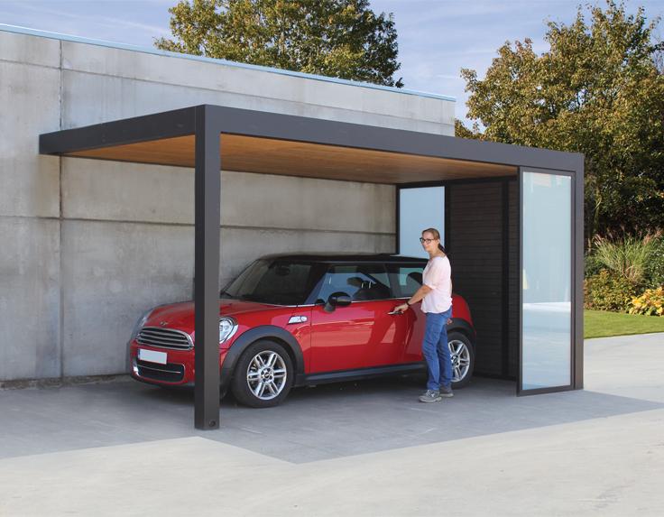 Modern carport in aluminium / wood Maluwi by Exterior