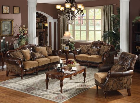 Acme Dreena Traditional Bonded Leather And Chenille Living