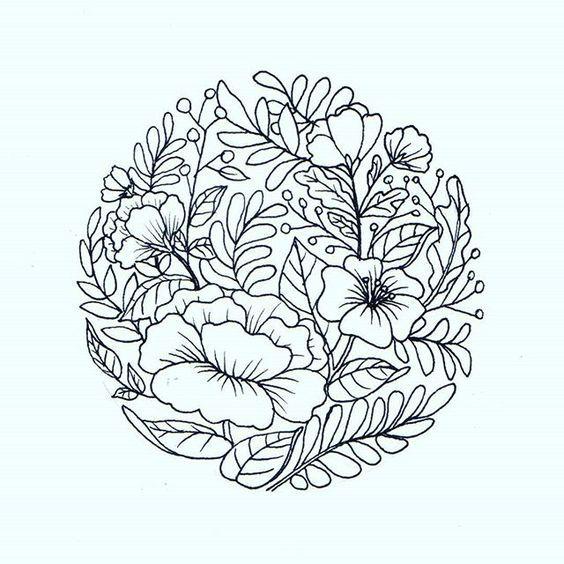 Minimalist Simple Flower Circle Tattoo: Flower Drawing, Circle Tattoos