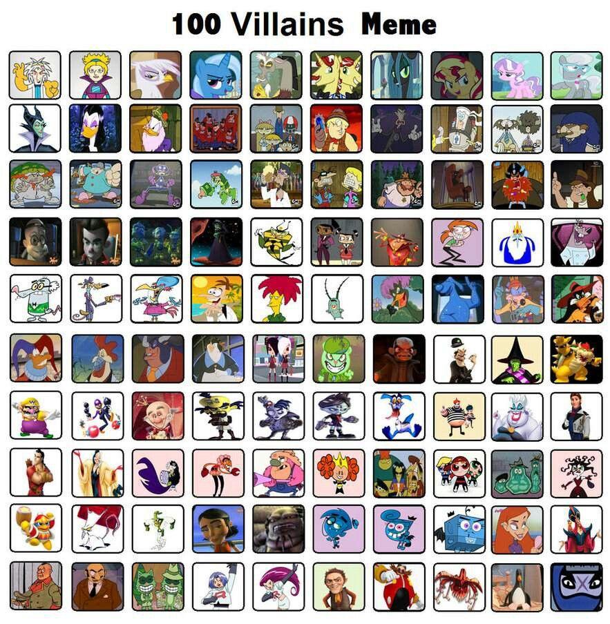 100 Pictures Cartoon Characters 100 villains meme | cartoon characters, cartoon, memes