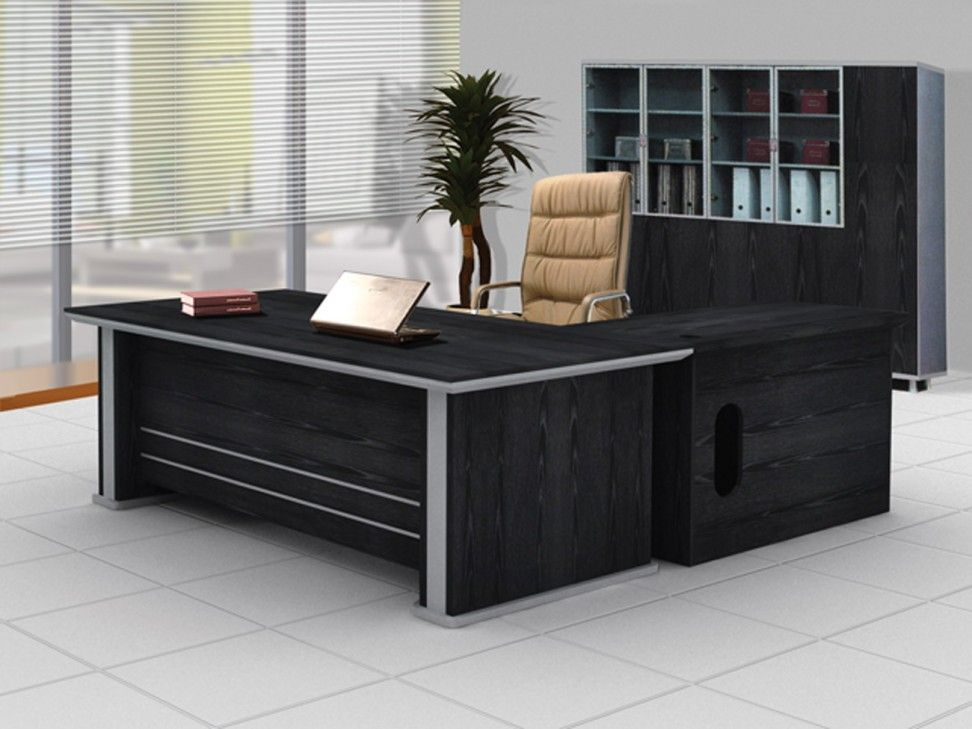 Furniture Stylish Office Desk Design With Unique Bases Shape And