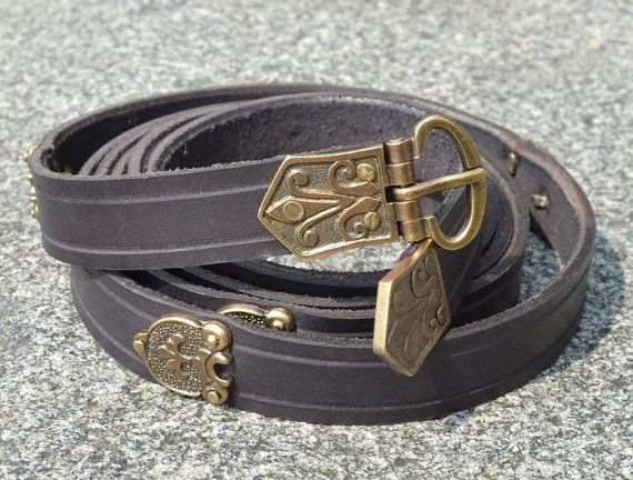 HISTORICAL LEATHER BELT Early Medieval Viking by WulflundJewelry - long & thin $27