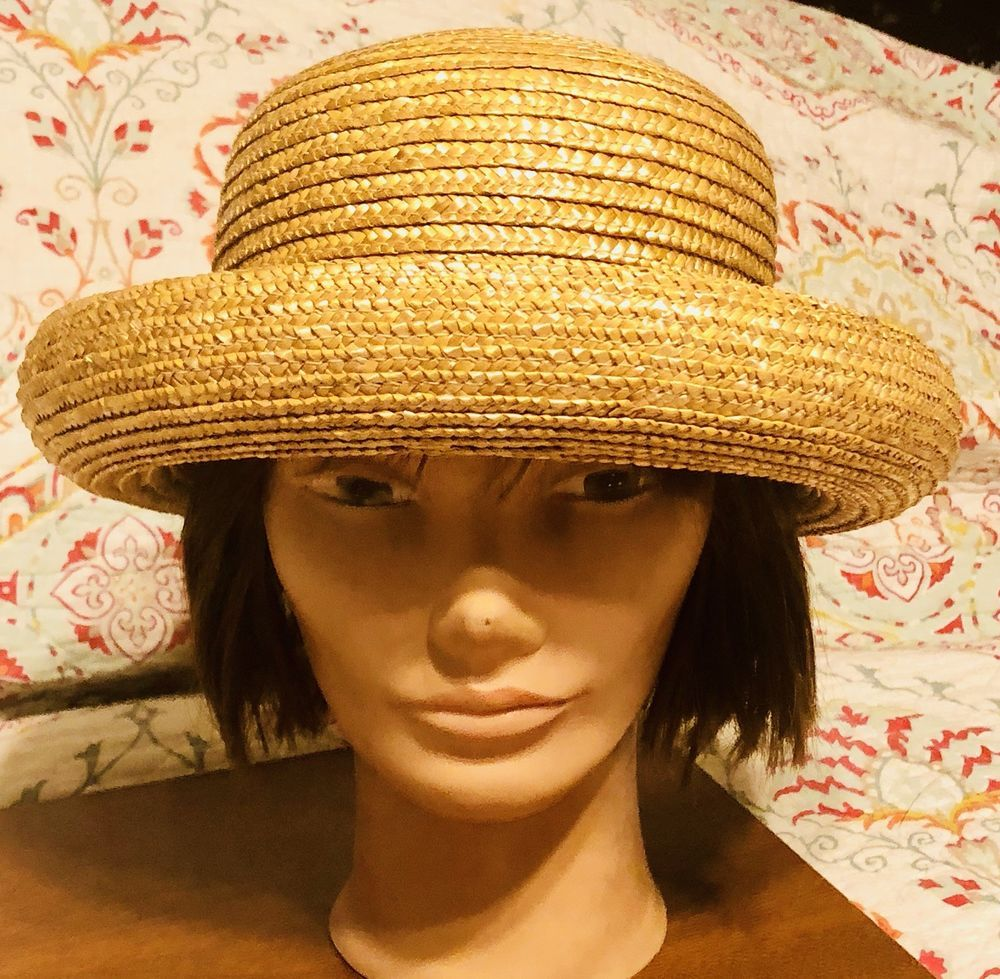 edaf781c Women's Brown 100% Straw Bowler Hat Sun Hat Rolled Brim New | eBay ...