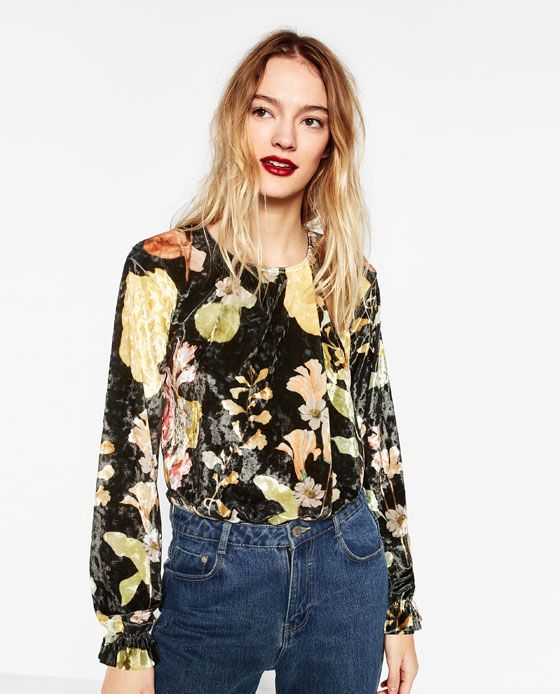 03cc7f0f50 Image 2 of FLORAL PRINT VELVET BODYSUIT from Zara Only Fashion