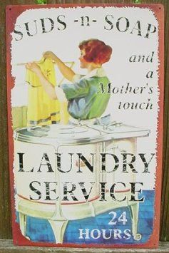 SUDS AND SOAP LAUNDRY SIGN, Vintage Metal LAUNDRY SERVICE Ad Sign, Vintage Retro Metal Tin Sign, Laundry Room Wall Plaque, Laun...