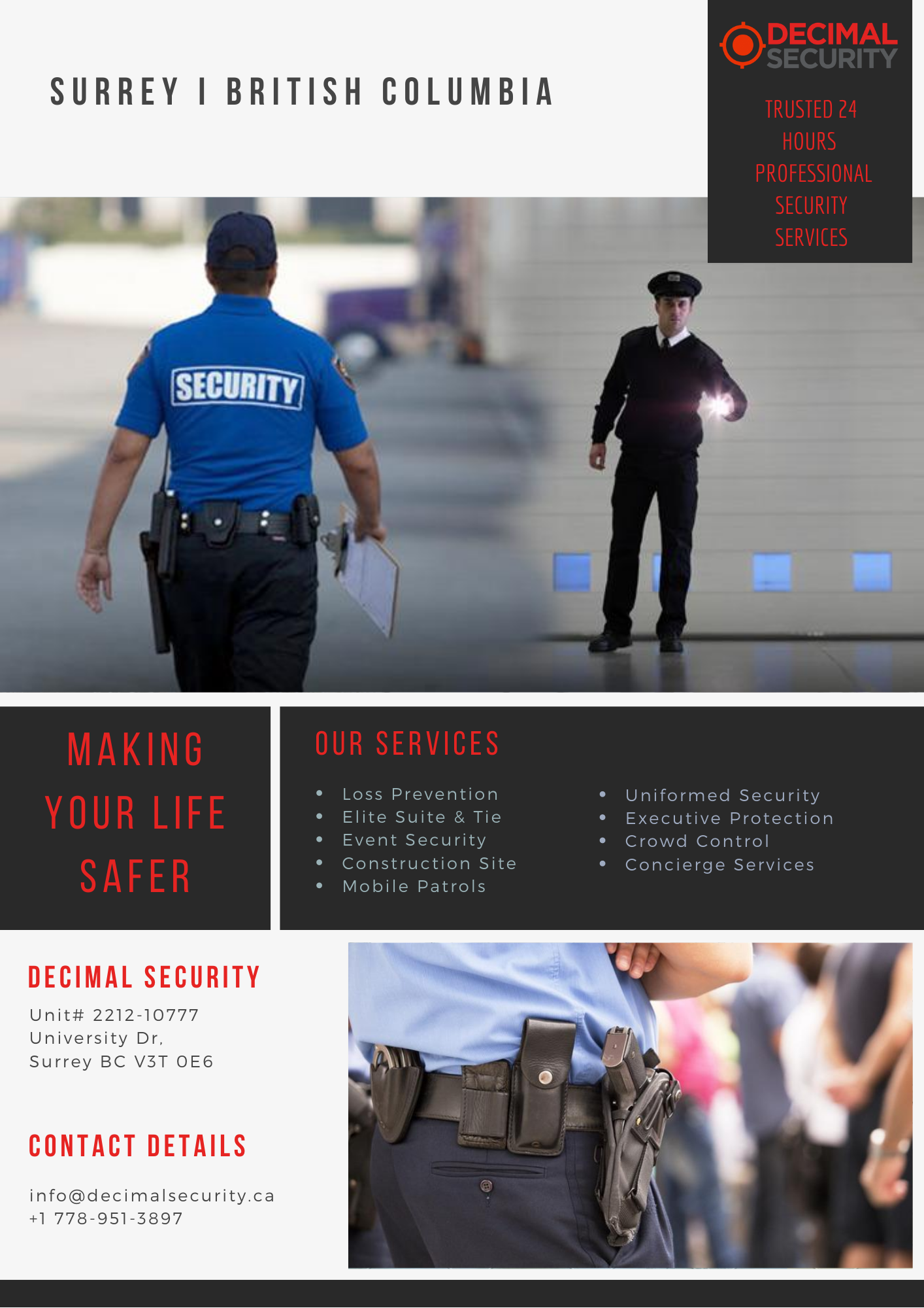 Trusted 24 Hours Professional Security Services Decimal Security In 2020 Security Guard Services Security Service Event Security