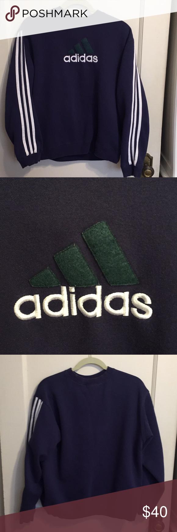Vintage 1990s Adidas Sweatshirt Navy Blue Adidas Sweatshirt With White Three Stripes On The Arms And Three Stri Adidas Sweatshirt Vintage Shirts Adidas Shirt [ 1740 x 580 Pixel ]