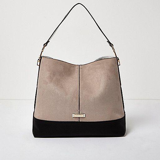 Beige contrast panel slouch handbag - shoulder bags - bags ...