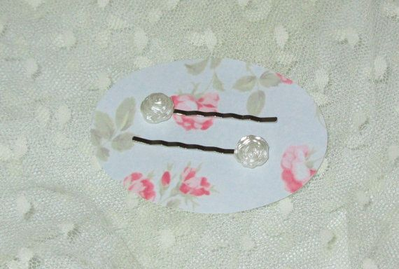 Set of 2 Bobby Pins White Resin Frosted Roses by RitasGarden, $4.50