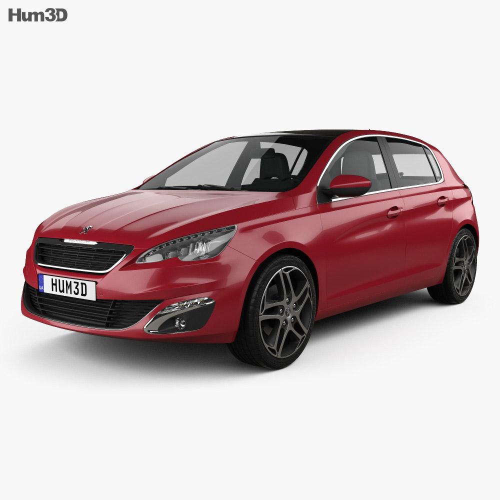 3D model of Peugeot 308 2014 in 2020 Peugeot 308, 3d