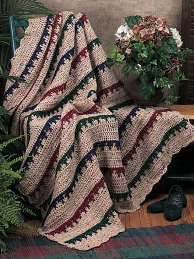 Falling Leaves Afghan - Crocheted with a size J hook; measures 58\