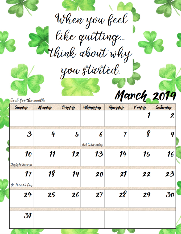 Free Printable 2019 Monthly Motivational Calendars Calendar