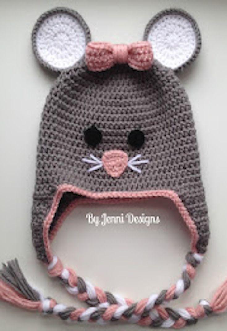 Free Crochet Pattern: Toddler Mouse Hat   Haube häkeln, Hauben und Mütze