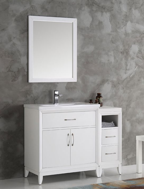 $1299 42 inch White Finish Traditional Bathroom Vanity with Mirror