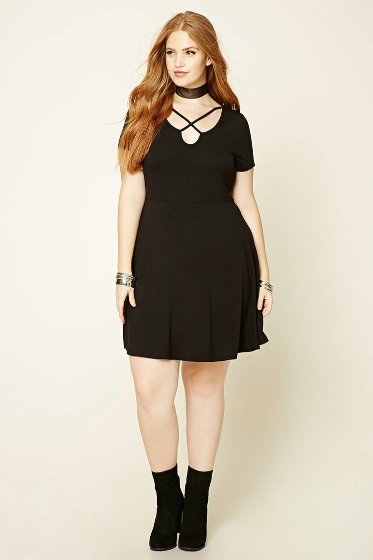 Forever 21 A Knit Skater Dress Featuring A Front Crisscross