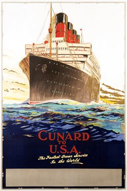 Artist Unknown poster: Cunard to U.S.A. - The Fastest Ocean Service in the World