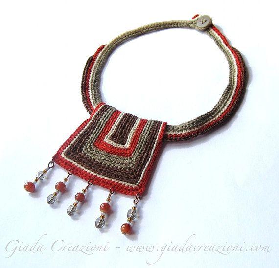 Africa\' - Ethnic/tribal cotton yarn necklace. | Crochet dainties ...