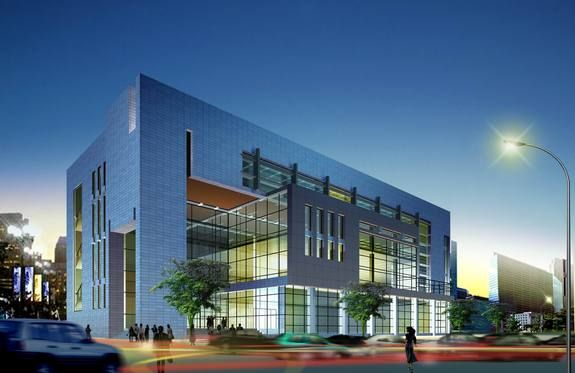 contemporary office building. evening mirrored minimal modern office building with glass grid windows people and cars model contemporary i