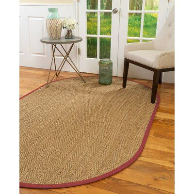 Bay Isle Home Natural Area Rugs 100 Natural Fibre Handmade Beach 5 Octagon Beige Seagrass Rug Red Border Rug Size Octagon 8 X 10 In 2020 Natural Area Rugs Beige Area