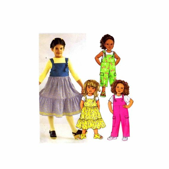 Toddler Girls Jumper and Overalls Butterick 3685 Sewing Pattern