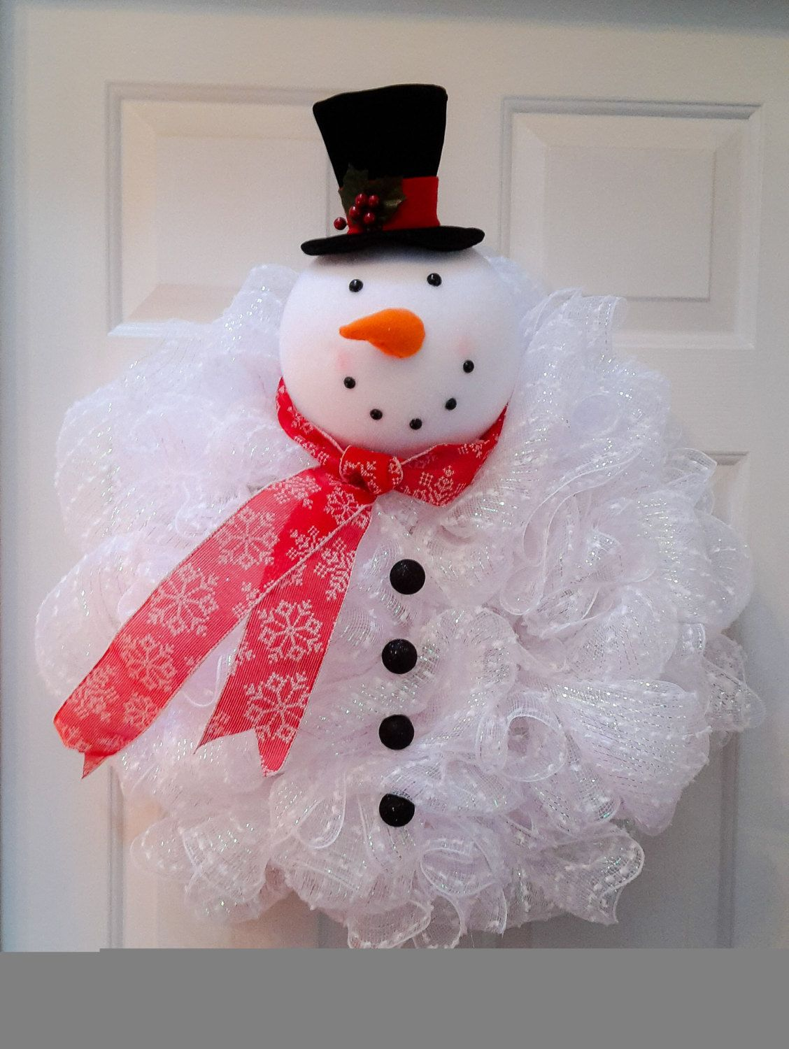 Snowman Wreath, Snowman Mesh Wreath by ShadesOfTheSeasons