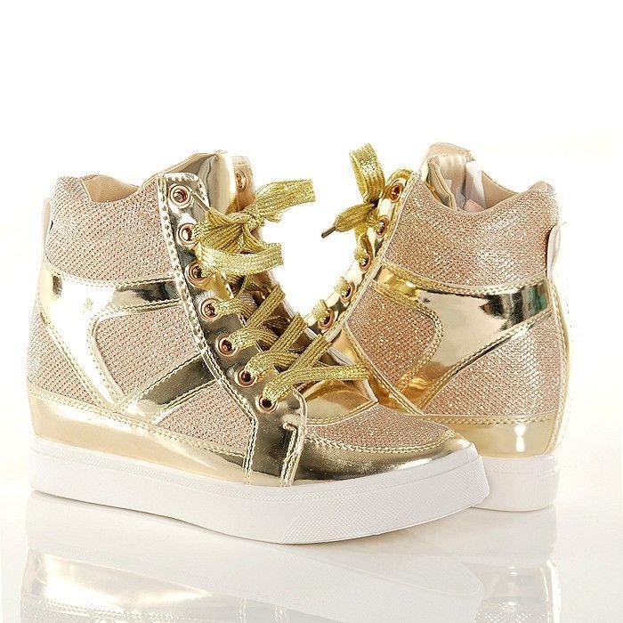 Sneakersy Zlote Brokatowe Trampki Na Koturnie Wedge Sneaker Shoes Sneakers