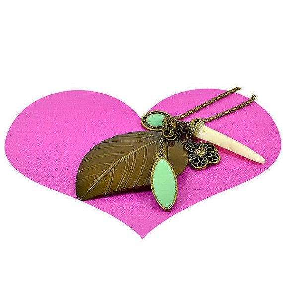 Bohemian festival Leaf & Green Charms pendant by Wearitwithlove