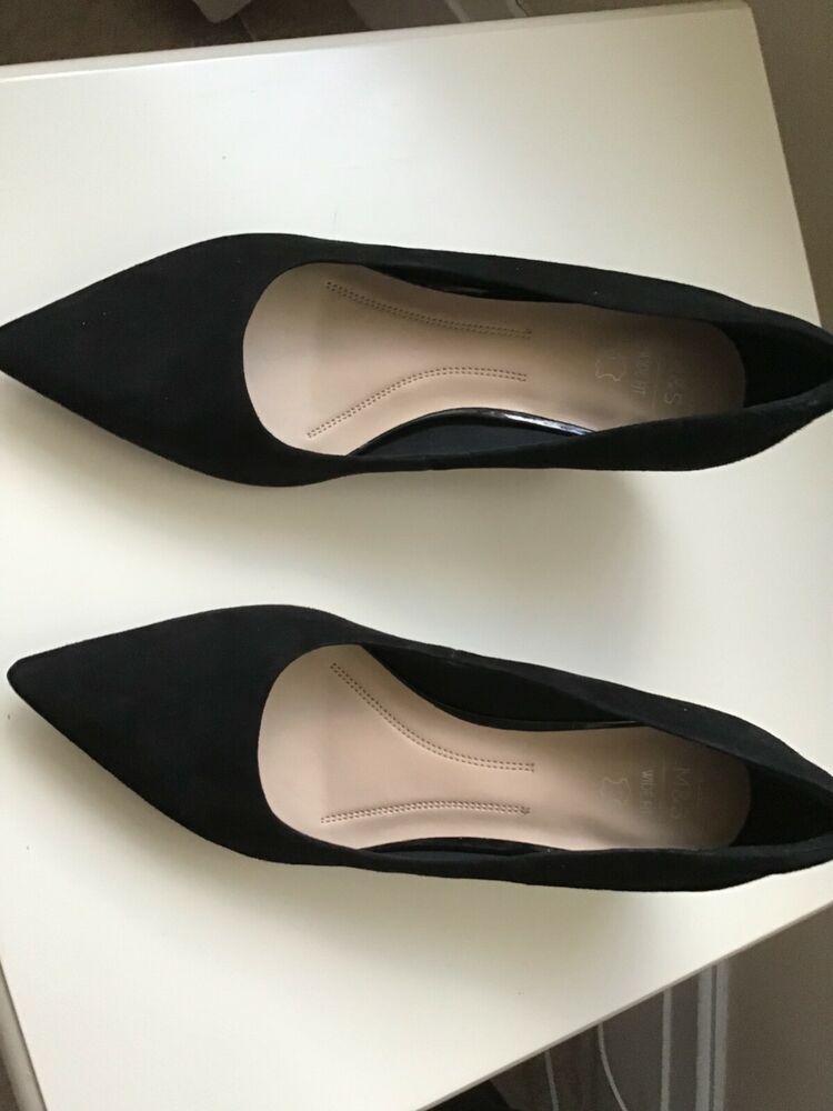 M S Ladies Black Suede Kitten Heel Court Shoes Wide Fit Size7ladies Kitten Heels From Ebay Uk Kittenheels Kitten Heels Black Suede Court Shoes