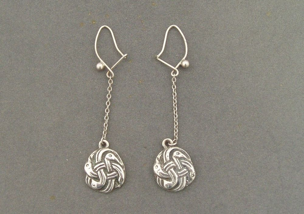 Unusual Charles Horner Silver Drop Earrings Celtic Zoomorphic Design 1959 60 Ebay