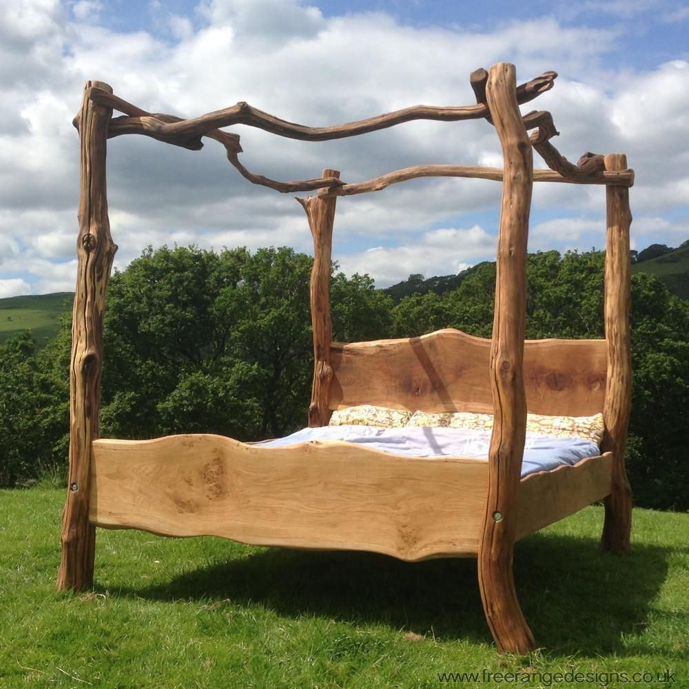 rustic oak four poster tree bed, beautiful chunky wooden bed frame
