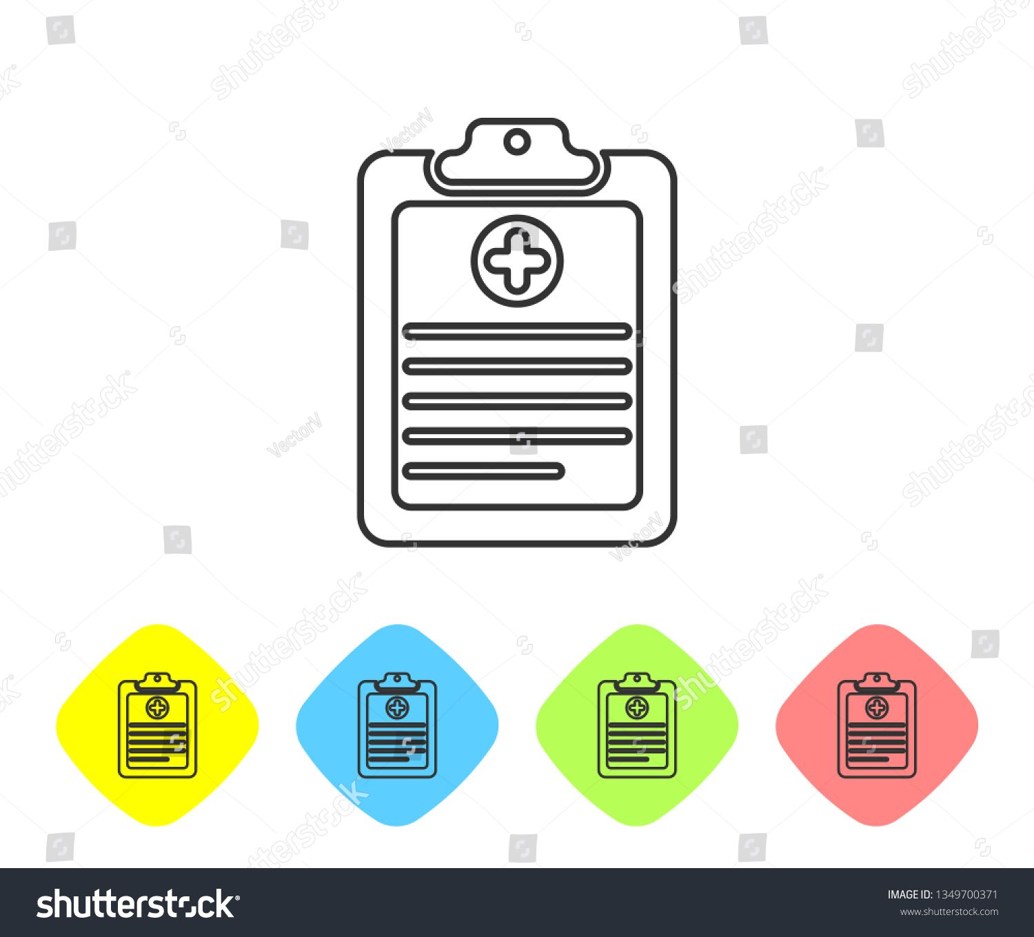 Grey Medical Clipboard With Clinical Record Line Icon On White