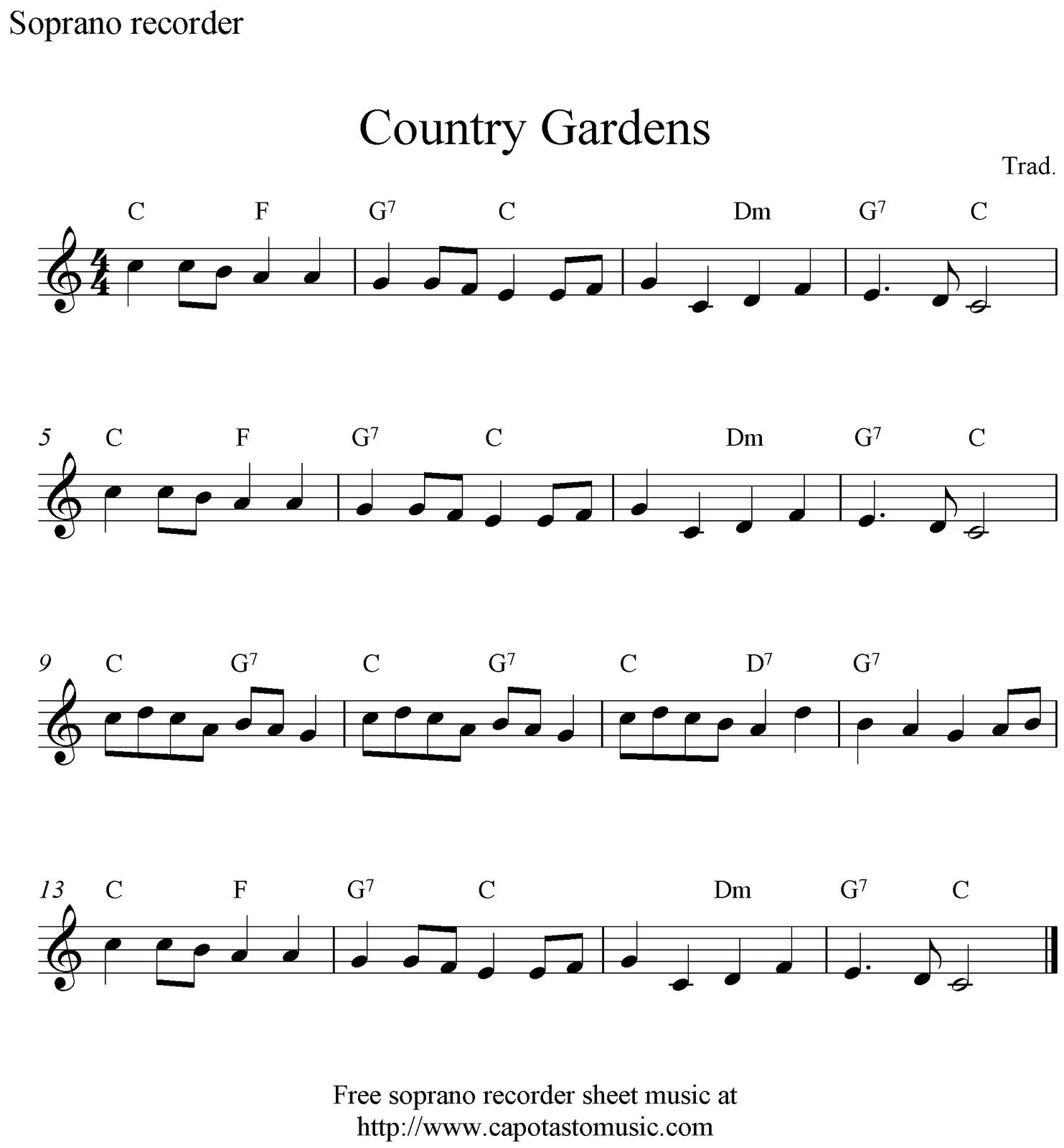 Greensleeves Lyrics And Sheet Music: Free Soprano Recorder Sheet Music, Country Gardens