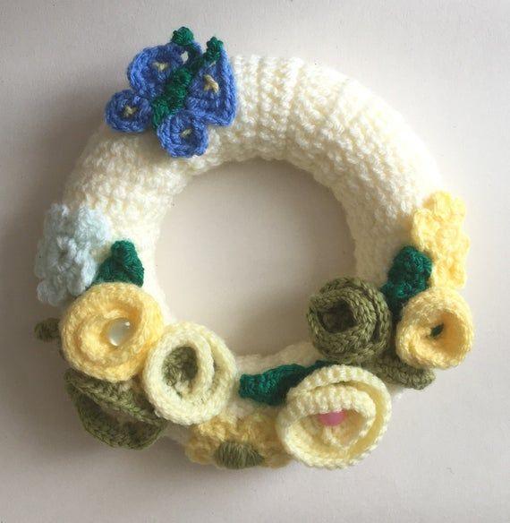 Photo of Crochet wreath, door/wall hanging. butterfly, flower wall hanging. spring wreath, handmade