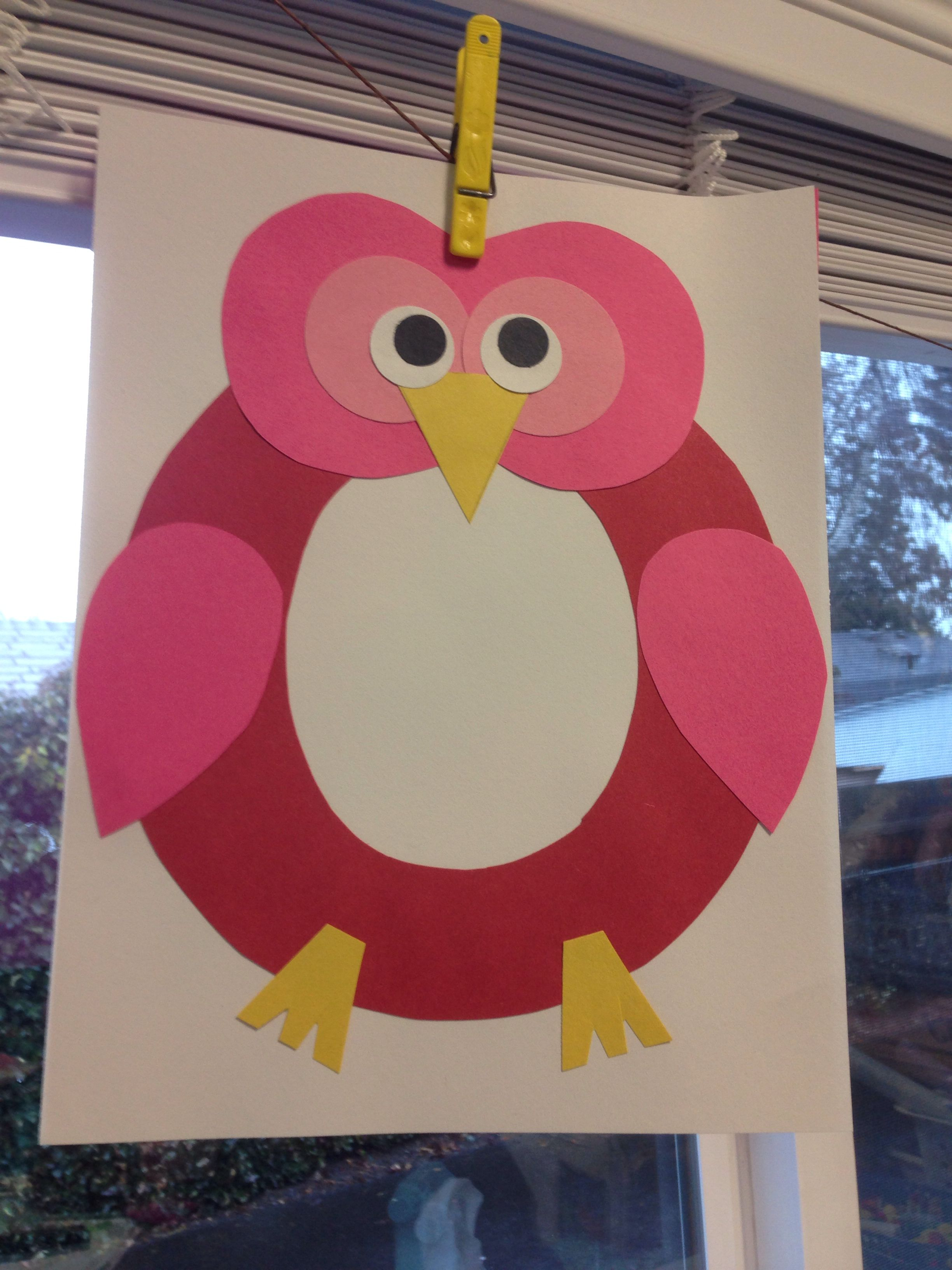 Letter O Owl Craft Have Children Cut Out Circle And Oval They Have Traces