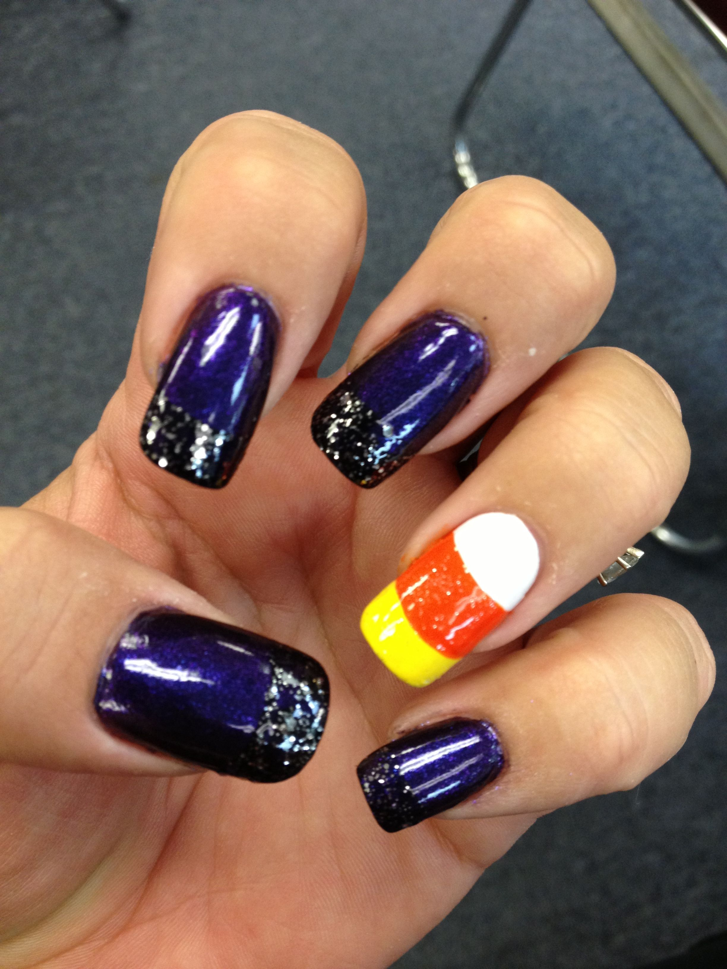 nails Halloween purple black glitter (With images ...