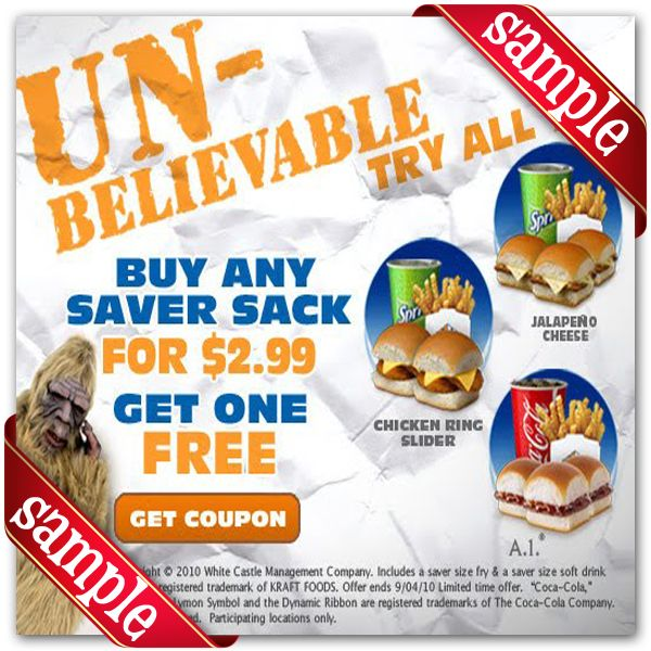 photograph regarding White Castle Printable Coupons titled White Castle Printable Coupon December 2016 Discount codes For