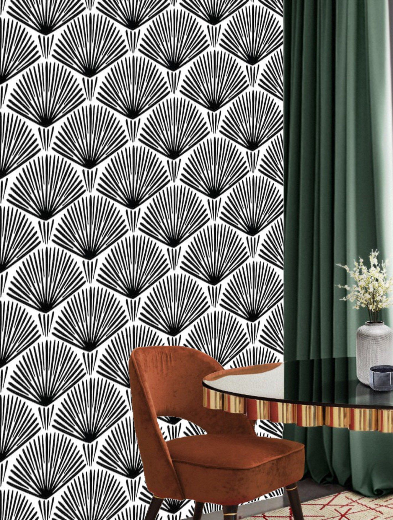 Peel and Stick Art Deco Removable Wall Paper Self Adhesive
