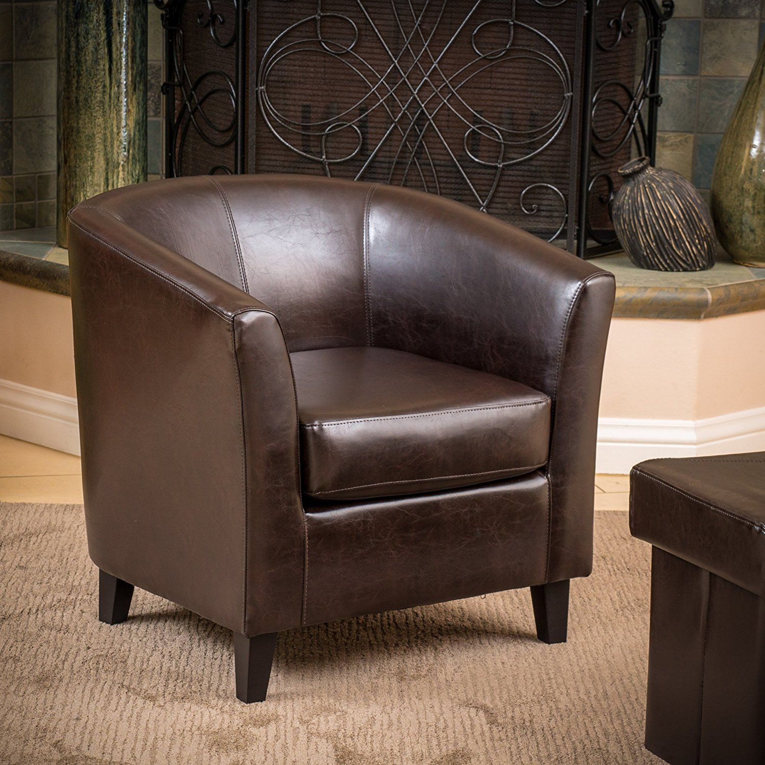 Good Petaluma Ivory Leather Club Chair