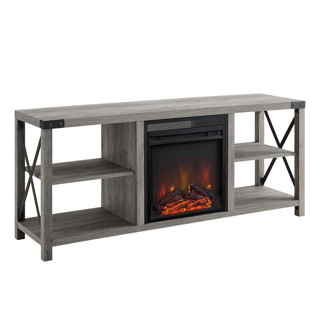 Tomanet Gray 60 In Console With Electric Fireplace In 2020