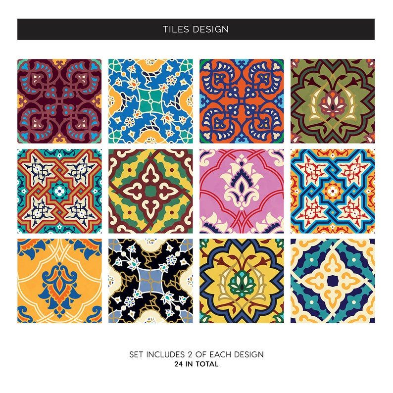 Arabian Tiles Wall Stairs Tile Stickers Removable Kitchen