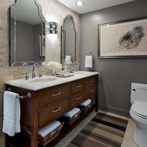 Tan Gray Bathroom Design Ideas Remodels Photos